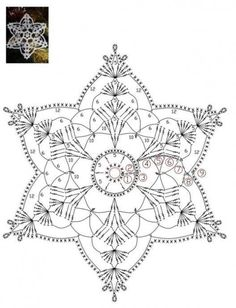 I love snowflakes. I love to crochet them and to decorate with them. We use them as Christmas tree ornaments and on hanging wreath. Every year I'm asked to share crochet snowflakes diagrams/p… Crochet Snowflake Pattern, Crochet Snowflakes, Crochet Mandala, Doily Patterns, Crochet Motif, Crochet Doilies, Crochet Flowers, Daisy Flowers, Snowflakes