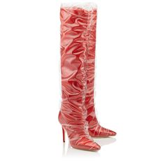 Jimmy Choo - + Off-White Elisabeth 100 Red satin knee high boots with ruched TPU