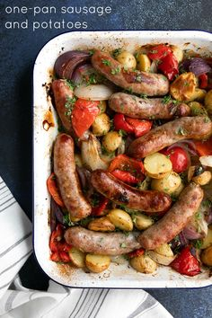 One-Pan Roasted Sausage and Potatoes Recipe Simple and delicious, this one-pan Oven-Roasted Sausage and Potatoes Recipe is filled with onion, sweet Italian sausage, bell peppers, and baby potatoes. Roasted Italian Sausage, Sweet Italian Sausage, Italian Sausages, Sausage Recipes For Dinner, Italian Sausage Recipes, Recipes With Sausage Links, Sweet Sausage Recipes, Potato Recipes, Pork Recipes