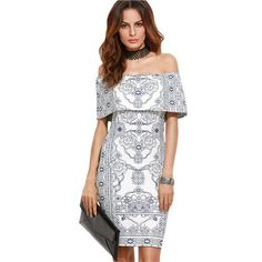 Women Autumn Party Dress White Vintage Print Foldover Off The Shoulder Ruffle Sexy Short