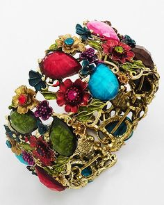 Secret Garden Bracelet....Peridot, Ruby, Amethyst and Teal