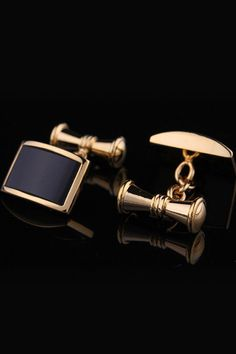 blanc Stainless Steel Black Rectangle Cufflinks in Gold - Beyond the Rack