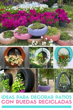 Ideas con llantas recicladas. Ruedas reutilizadas. #reciclaje #reutilizar #ruedasrecicladas #llantasrecicladas #decoracionlowcost #estiloydeco Tire Garden, Garden Art, Garden Design, House Plants Decor, Plant Decor, Diy Crafts Videos, Diy Crafts To Sell, Tire Craft, Tire Planters