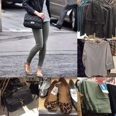 Fall outfit idea featuring a leather jacket, striped top, olive skinnies, leopard flats and black crossbody bag