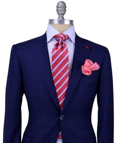 Isaia | Navy Plaid with Rose Windowpane Suit | Apparel | Men's