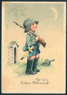 German Child/Kinder military art postcard depicting a young boy in soldiers uniform, with a rifle and helmet on guard with a cannon. Used 6-22-1943