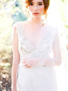 Anna Campbell Romantic Vintage Wedding Dress with Hand-embellishment detail | Hand-beaded wedding gown | Coco Dress | | Bridal Editorial | V-neck | Low back | V-back bow detail Photography: Callie Manion - www.calliemanionphotography.com/ Read More on SMP: http://www.stylemepretty.com/2016/04/08//