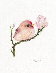 Baby bird Original watercolor painting 5x7 by OneWildKingdom, $28.00