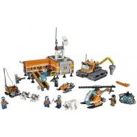 The LEGO City: Arctic Base Camp is a set that builds an arctic-inspired explorer's camp. The set includes seven LEGO City minifigures, multiple vehicles, and a large amount of accessories including a polar bear and husky sled team.