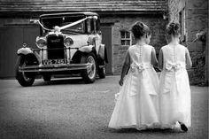 So cute. Bridesmaids. Flower girls. Wedding car.