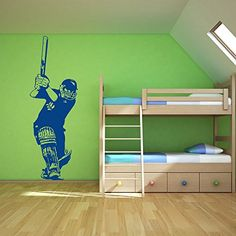Cricket Batsman Wall Sticker Sport Wall Decal Art Available In 5 Sizes And 25 Colours Large Black