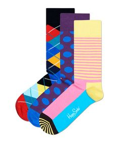 3 blue & yellow cotton blend socks Sale - Happy Socks Sale