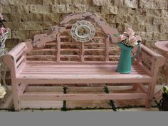 Dollhouse Miniature Vintage Shabby Chic Farmhouse Country Shabby Chic Pink Garden Bench