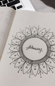 February Bullet Journal Cover Page Ideas {It& not all hearts and flowers!} Last modified on March 2019 > > > February Bullet Journal Cover Page Ideas {It's not all hearts and flowers!}February Bullet Journal C Bullet Journal Drawings, Bullet Journal Décoration, February Bullet Journal, Bullet Journal Cover Page, Bullet Journal Spread, Journal Covers, Journal Pages, Journal Ideas, Bullet Journel