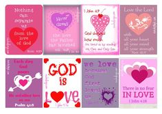 Valentine printable cards with Bible verses- share how much God loves us! Print 8 cards on one 8.5x11 sheet of card stock.