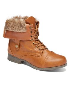 Loving this Cognac Faux Fur Combat Boot on #zulily! #zulilyfinds