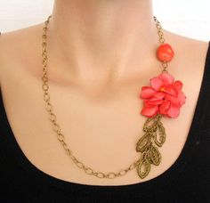 Coral Necklace Handmade Chain Unique Item by mammamiaeme on Etsy, $32.00