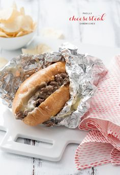 Philly Cheese Steak Sandwich. Add garlic and green bell pepper next time.