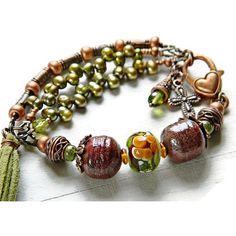 Boho bracelet for Fall, Bohemian Lampwork bracelet, Rustic flower... ($42) ❤ liked on Polyvore featuring jewelry, bracelets and marianne