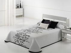 Cuvertura de pat LETTER gri, dimensiune 250 cm x 270 cm Decor, Furniture, Deco, Home Decor, Bed, Bedroom