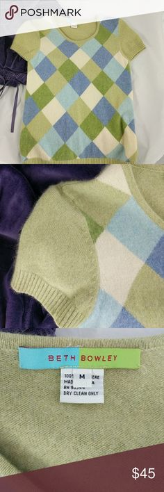 """Beth Bowley 100% cashmere Argyle sweater M Excellent condition accept for two small holes, as shown, on the right sleeve.  On and near the cuff.  Dry clean only.  22"""" top to bottom; 15"""" arm pit to arm pit; 4"""" neckline to shoulder seam Beth Bowley Sweaters Crew & Scoop Necks"""