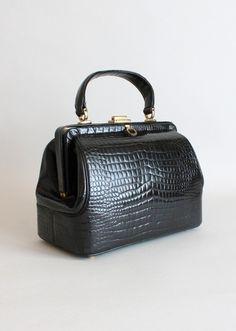 Vintage 1960s Morris Moskowitz Leather Doctors Bag Purse