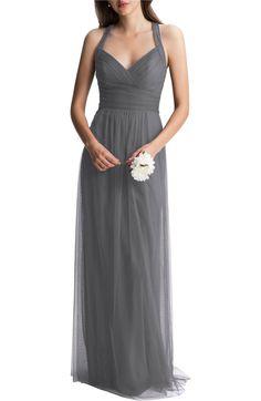 Main Image - #Levkoff Crisscross Strap English Net A-Line Gown