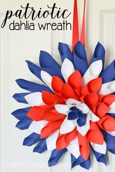 This red, white, and blue paper Dahlia wreath is a simple one-hour craft that makes for a fun decoration to hang in your home for Independence Day.