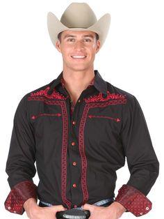 33895 Camisa Charra Caballero El General, 65% Polyester 35%Cotton - Black