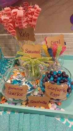 Under the sea Candy Bar. - Under the sea Candy Bar…Besonders das Seegras… Imágenes efectivas que le proporcionamos sobre d - Mermaid Theme Birthday, Little Mermaid Birthday, Little Mermaid Parties, Mermaid Themed Party, 4th Birthday Parties, 2nd Birthday, Birthday Ideas, Baby Shower Mermaid Theme, Mermaid Party Food