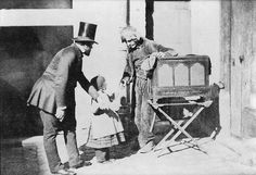 Charles Negre - Henri Le Secq and a Child Giving Alms to an Organ Grinder, 1853/1890, via Flickr.