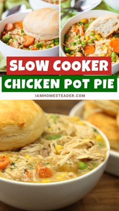 SLOW COOKER CHICKEN POT PIE Create a delicious mouth-watering slow cooker chicken pot pie with this recipe! This super easy recipe is jam-packed with flavor and will definitely become a family favorite. Save this recipe perfect for a crowd! Slow Cooking, Cooking Recipes, Tasty Slow Cooker Recipes, Slow Cooker Meals, Delicious Crockpot Recipes, Healthy Recipes, Italian Cooking, Oven Recipes, Pressure Cooking