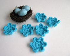 6 Turquoise Aqua Pedal Flowers - Set of 6 - Yarn