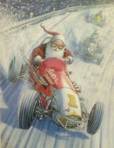 Merry Christmas Sprint Car Santa
