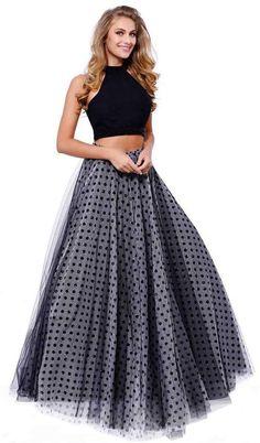 Black Polka Dot Skirt Two Piece Long Formal Dress Sleeveless Prom Dresses Two Piece, Two Piece Dress, Short Dresses, Plus Size Black Dresses, Perfect Prom Dress, A Line Gown, Prom Dresses Online, Polka Dot Print, Printed Skirts