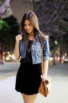 Giacche di jeans corte - Abito nero e giacca corta di jeans