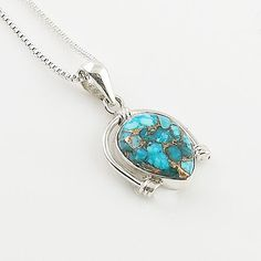 Blue Copper Turquoise SterlingSilver Pendant - keja Jewelry – Keja Designs Jewelry