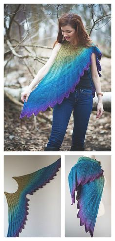 Wingspan Shawl Knitting Pattern Wingspan Shawl Knitting Pattern Wingspan Shawl Knitting Pattern The Wingspan Shawl Knitting Pattern has very detailed instructions. This is one of the most beautiful shawl patterns I've seen lately. Love Knitting, Knitting Patterns Free, Knit Patterns, Knitted Shawls, Crochet Shawl, Knit And Crochet Now, Tear, Creations, Tie Dye Skirt