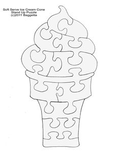 Ice cream cone puzzle Felt Crafts, Wood Crafts, Diy And Crafts, Crafts For Kids, Paper Crafts, Scroll Saw Patterns Free, Scroll Pattern, Intarsia Patterns, Felt Quiet Books