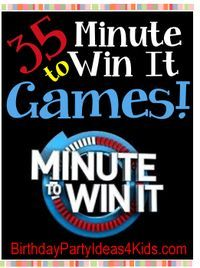 35 Fun Minute to Win It Games!   Great for birthday parties!   Easy to set up, but challenging and fun for boys and girls, kids, tweens and teens ages 6, 7, 8, 9, 10, 11, 12, 13, 14, 15, 16, 17, 18 years old.    http://www.birthdaypartyideas4kids.com/minute-to-win-it-games.html #christmas #holiday #party #games