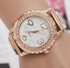 5919a801c Stylové růžové dámské hodinky se zirkony a strojkem Quartz Na tento produkt  se vztahuje nejen zajímavá