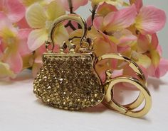 Champagne Gold Purse $9.99  Charm and Key Ring Sparking Crystals for Your Handbag