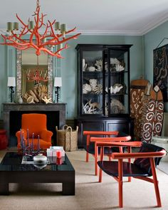 Eclectic beauty with pops of persimmon... #interiordesign #inspiration #eclectic…
