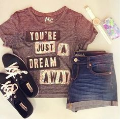 You're Just A Dream Away - cute T-shirt and denim shorts with black shoes and white watch - perfect for summer :D