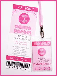 Dance Party Invitation & Decorations - Disco Party - complete package to print . - Let's have a Party - Dance Party Kids, Dance Party Birthday, 13th Birthday Parties, Kids Disco Party, Soccer Party, 9th Birthday, Birthday Ideas, Karaoke Party, Sleepover Party