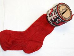 Vintage Pyrography Red Sock Stocking Bank SOCK your money away! $20.00