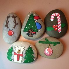 Christmas rocks. Reindeer, xmas tree, candy cane, polar bear, ornament
