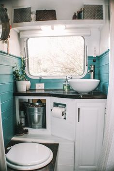 16 Camper Remodel Ideas That Will Inspire You to Hit the Road Tiny House On Wheels Camper hit ideas inspire Remodel road Diy Renovation, House Bathroom, Small Room Design, Remodel, Remodeled Campers, Tiny House Bathroom, One Piece Toilets, House Bathroom Designs, Bathroom Design