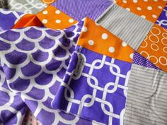 Purple Orange And Grey Minky Fleece Patchwork Baby Blanket in Baby | eBay