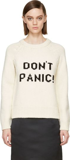 """Marc by Marc Jacobs Ivory Knit Merino """"Don't Panic!"""" Sweater"""